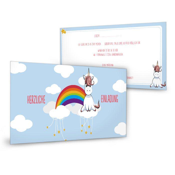 Niedliche Einladung zum Geburtstag mit Einhorn und Regenbogen