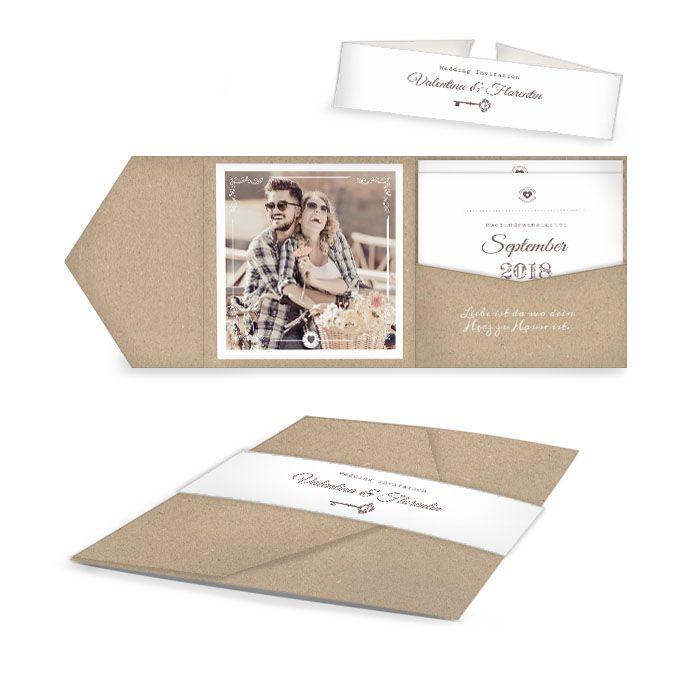 Einladung zur Hochzeit als Pocket Fold mit Schlüsselmotiv