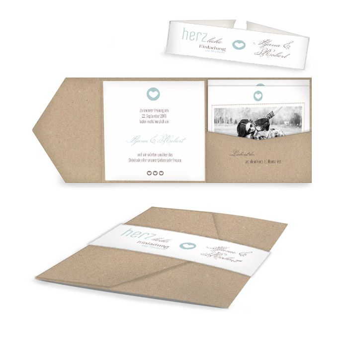 Pocket Fold Hochzeitseinladung im modernen Letterpress Stil