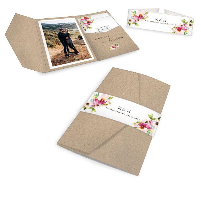 Hochzeitseinladung mit bunten Aquarellblumen als Pocket Fold