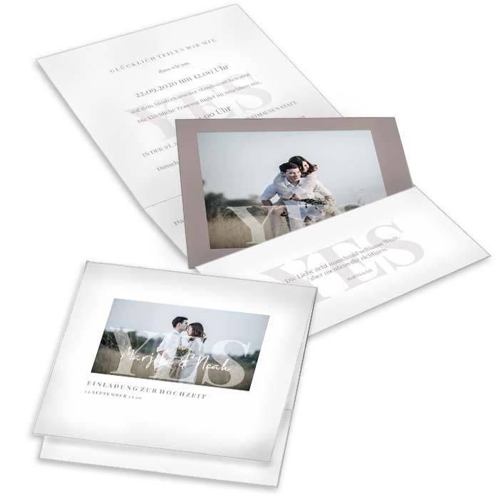 Pocketfold Einladung zur Hochzeit mit Yes Schriftzug