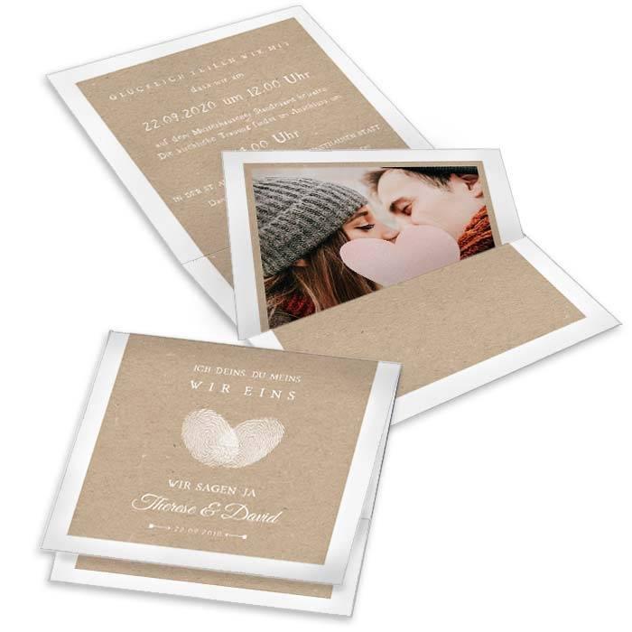 Hochzeitseinladung als Pocketfold mit Fingerabdruck Herz