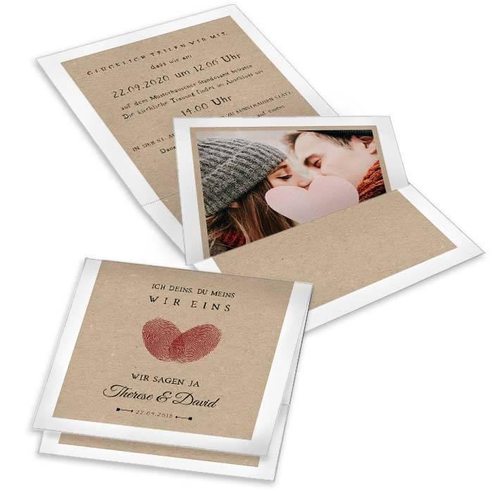 Pocketfold Hochzeitseinladung mit Fingerabdruck Herz in Rot