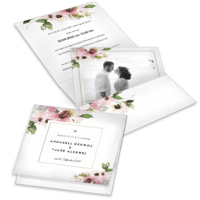 Pocketfold Einladung zur Hochzeit mit Blumendesign in Rosa
