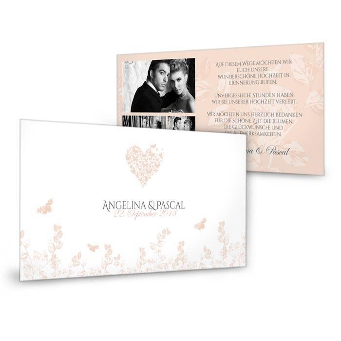 Postkarte als Hochzeitsdanksagung in Apricot mit Schmetterlingen