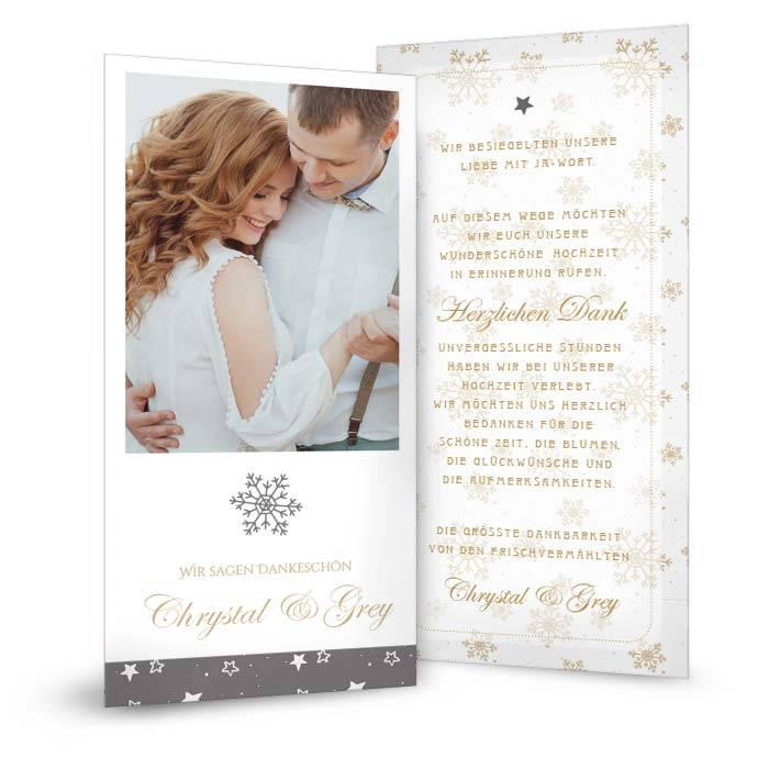 Danksagung zur Hochzeit mit goldenen Schneeflocken und Sternen