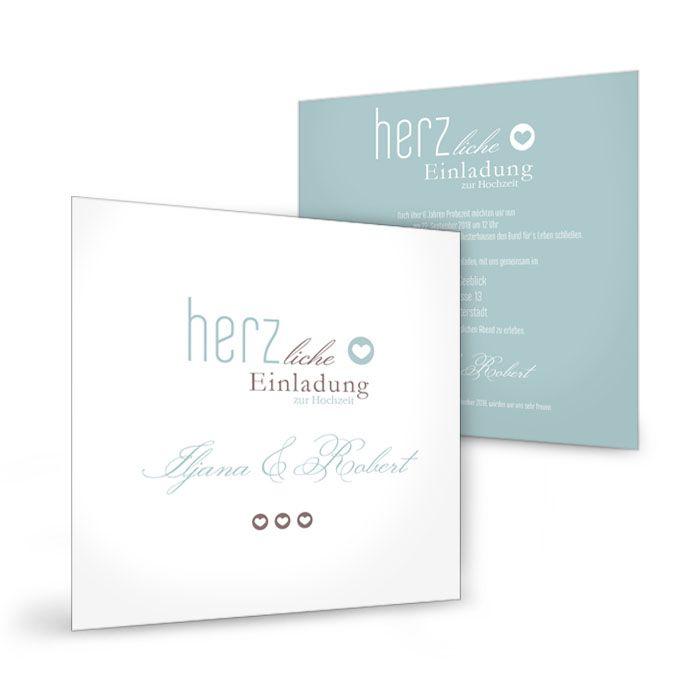 Moderne Hochzeitseinladung im Letterpress-Stil in Minz