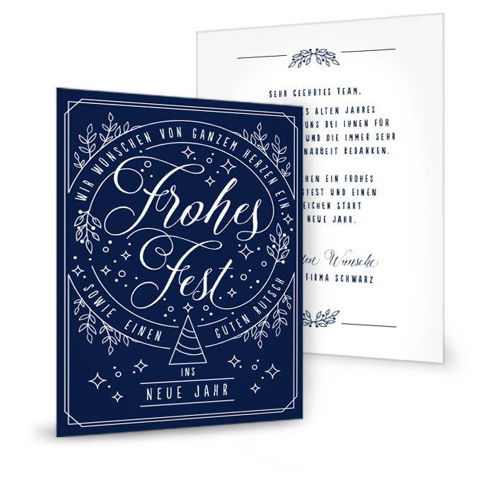 Postkarte für Weihnachtsgrüße mit Mistelzweig Motiv in Blau