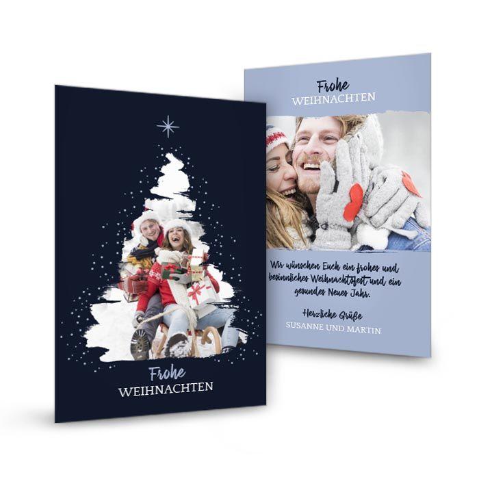 Weihnachtskarte mit Foto im Tannenbaum in Blau
