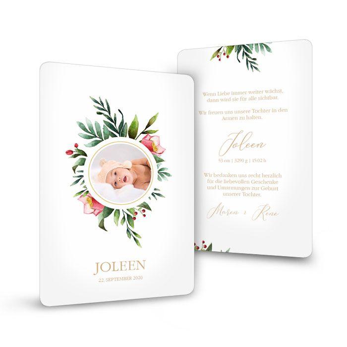 Postkarte zur Geburt mit floralem Bilderrahmen