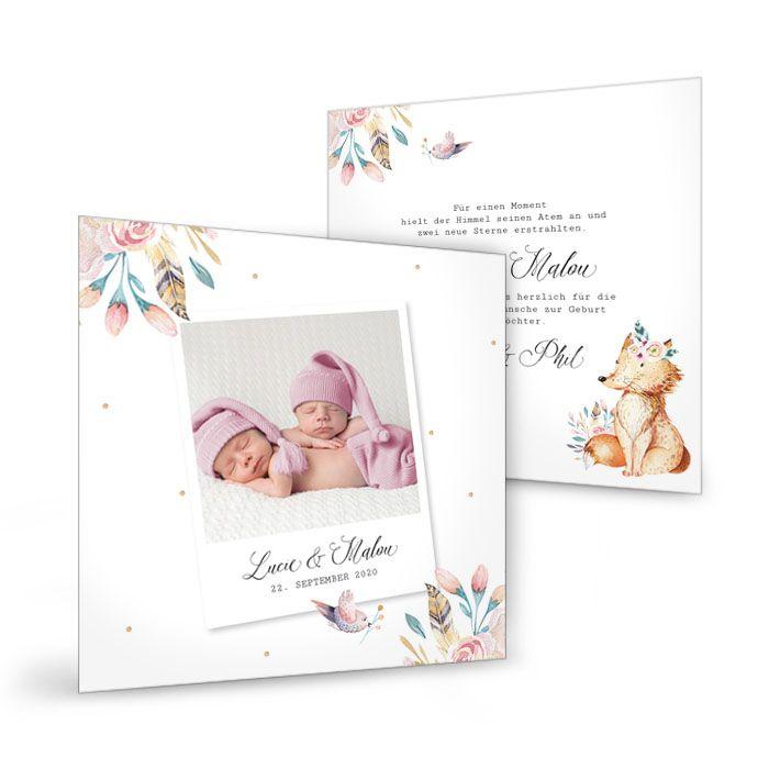 Postkarte zur Geburt von Zwillingen mit niedlichen Waldtieren
