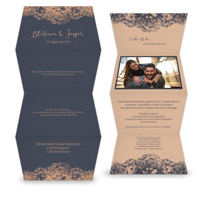 Elegante Hochzeitseinladung als Leporello in Blau und Kupfer