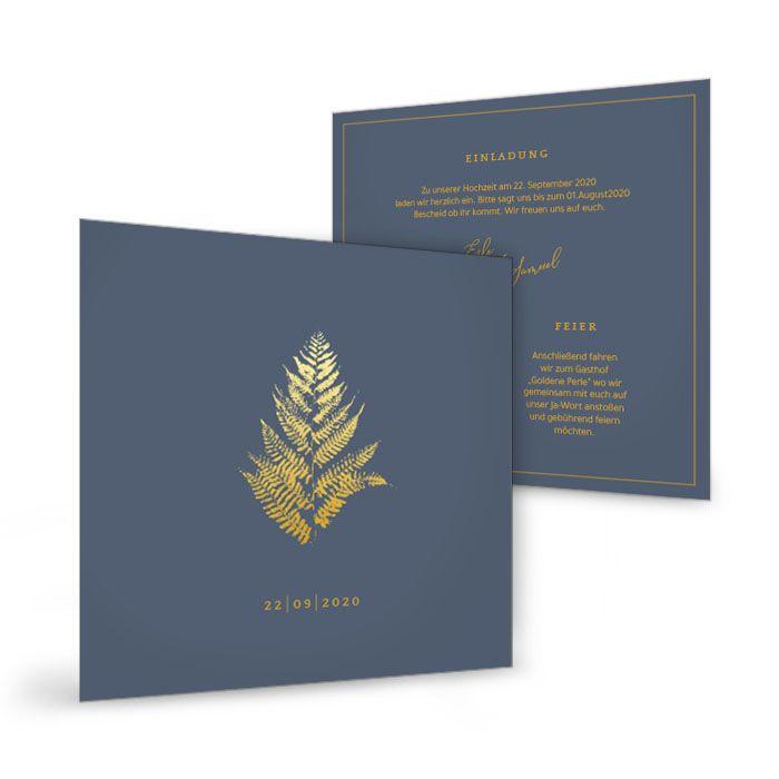 Quadratische Einladung mit goldenem Farn in Blau