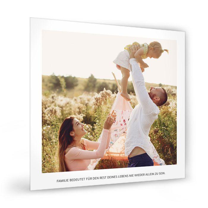 Quadratische Fotocollage mit Familienfoto und Spruch