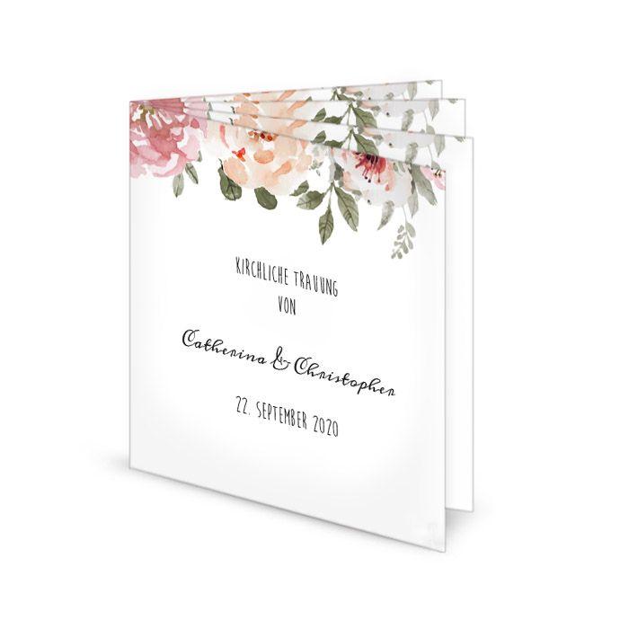 Quadratisches Kirchenheft zur Hochzeit mit Aquarellblumen
