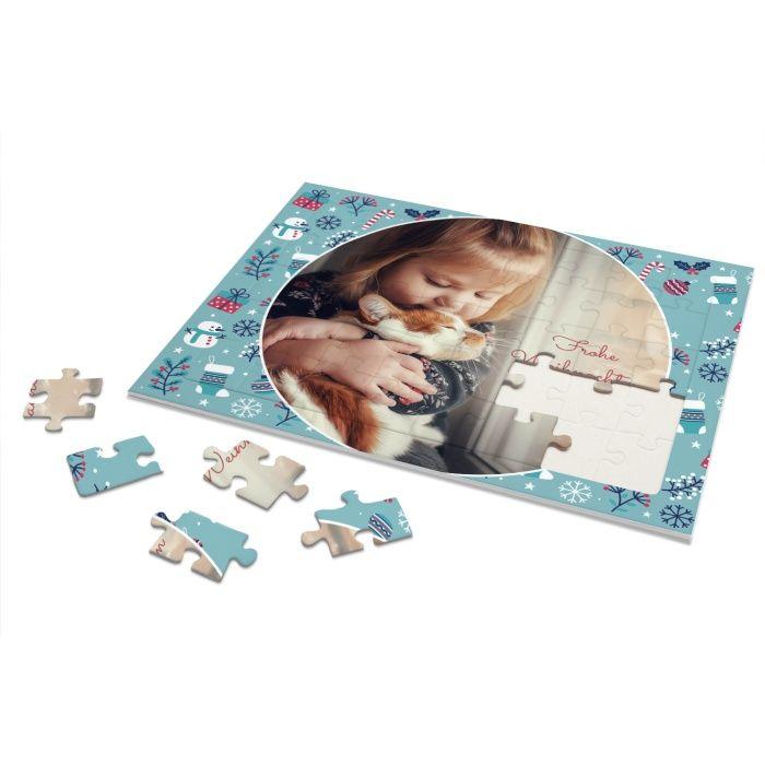 Rahmenpuzzle für Kinder mit eigenen Foto und Weihnachtsmotiv - 40 Teile
