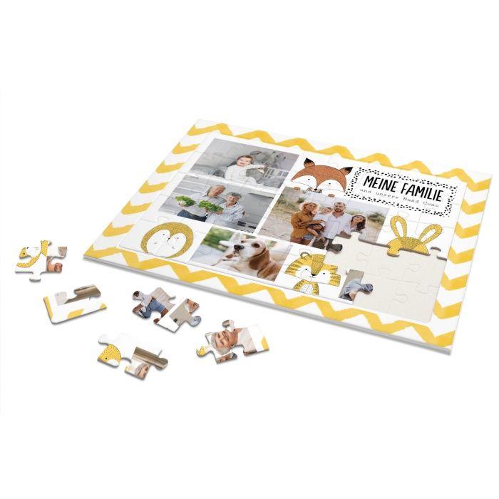 Rahmenpuzzle für Kinder mit Familienfotos und Tierillustrationen - 40 Teile