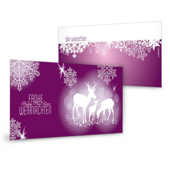 Geschäftliche Weihnachtskarte in Brombeer mit Rehen