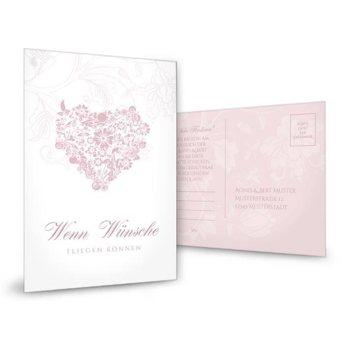 Romantische Ballonkarte mit floralem Herzen in Rosa