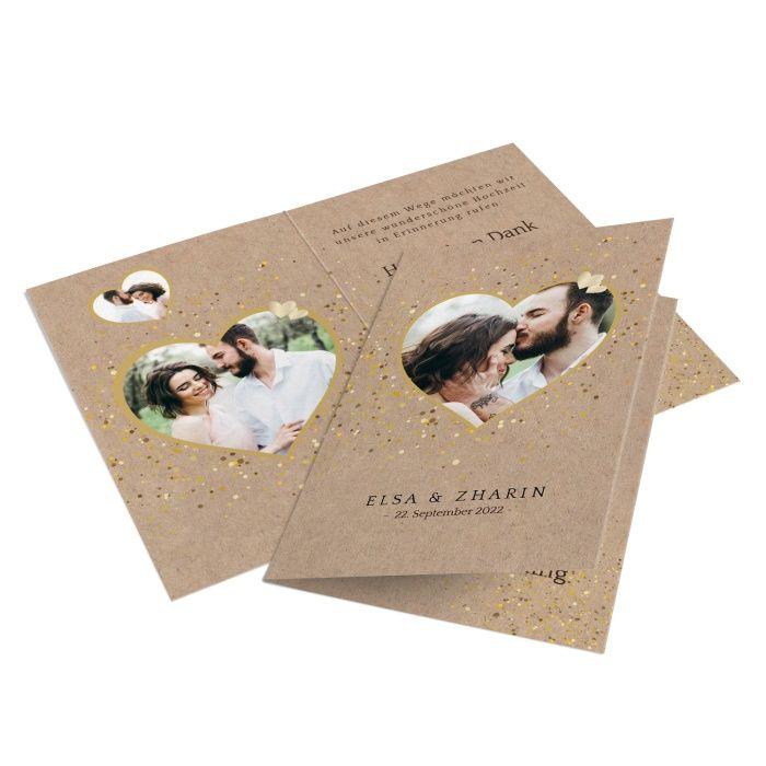 Romantische Hochzeitsdanksagung in Kraftpapieroptik mit vielen Fotos in Herzform