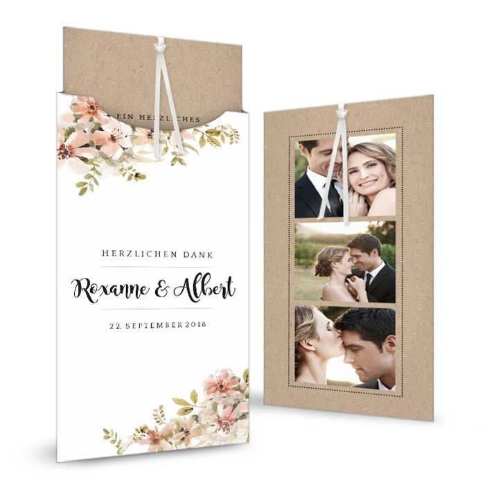 Romantische Hochzeitsdanksagung mit Aquarell Blumen in nude