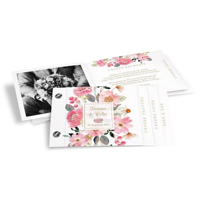 Romantische Hochzeitseinladung als Booklet mit Aquarellblumen in Rosa und Pink