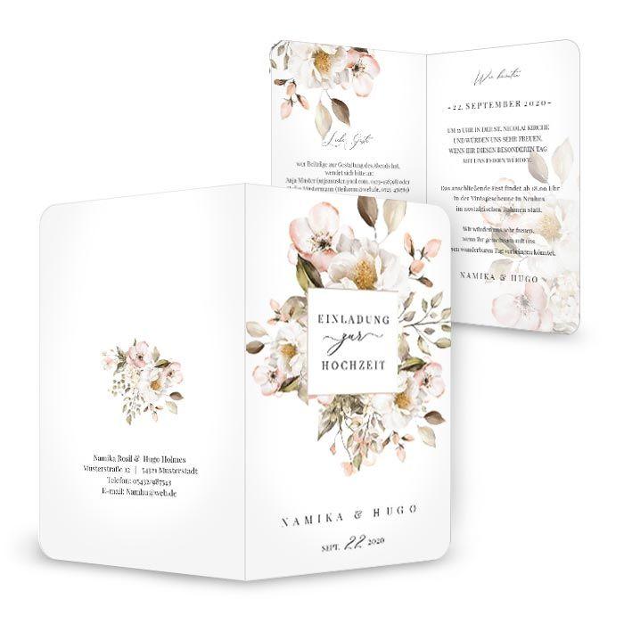 Romantische Hochzeitseinladung mit Blumen in Rosa und Weiß