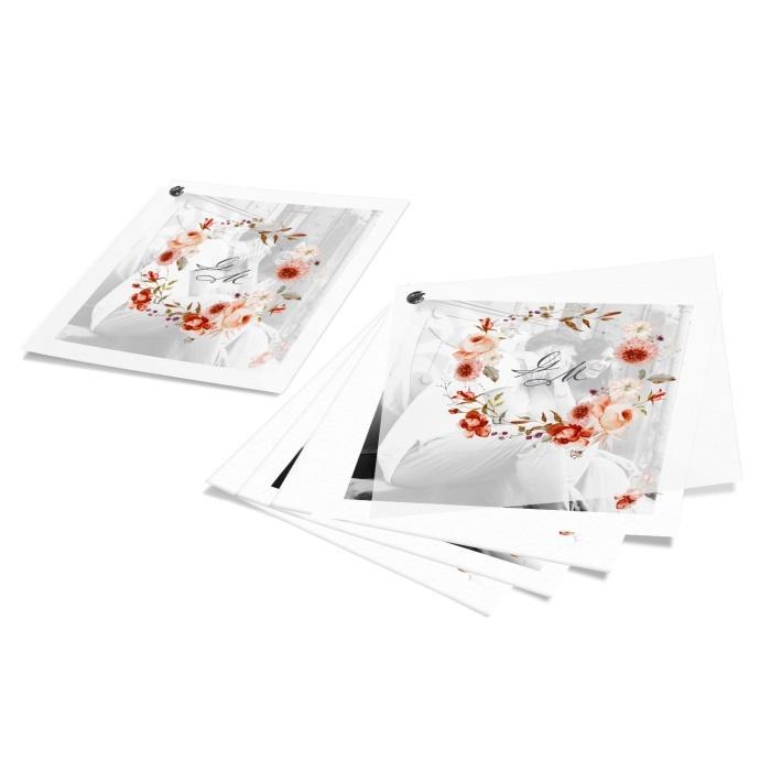 Romantische Hochzeitseinladung mit Transparentpapier und roten Aquarellblumen - 9seitig