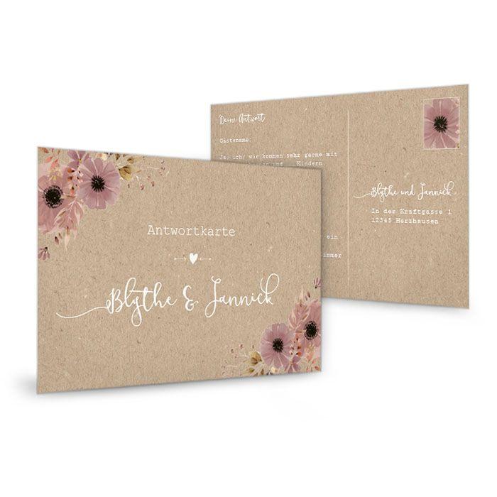 Antwortkarte in Kraftpapieroptik mit Aquarellblumen
