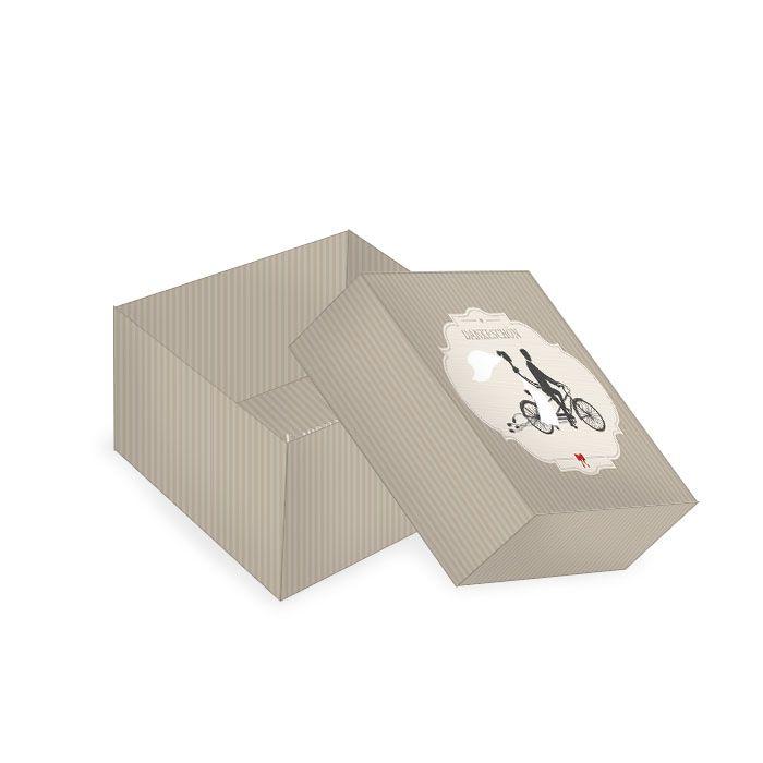 Kleine Geschenkbox mit Vintage Tandem Motiv in Grau