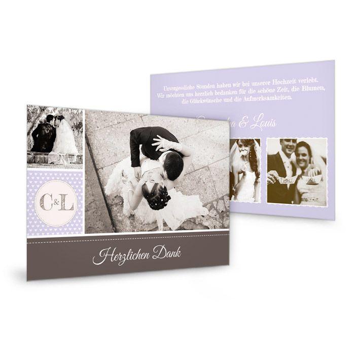 Hochzeitsdanksagung als Postkarte im Retrostil in Flieder