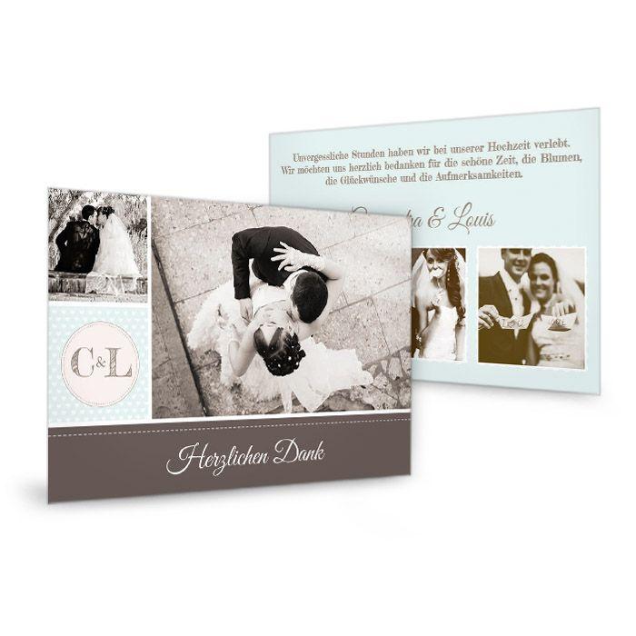 Hochzeitsdanksagung als Postkarte im Retrostil in Mint