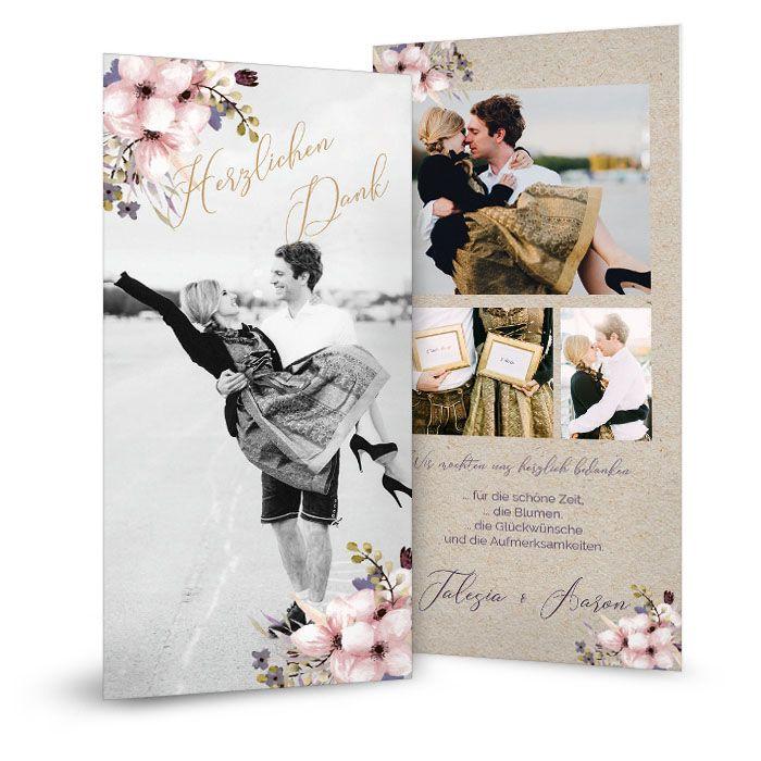 Hochzeitsdanksagung in Kraftpapieroptik mit Aquarellblumen