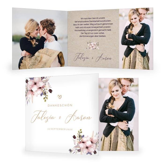 Romantische Hochzeitsdanksagung in Kraftpapieroptik mit Blumen