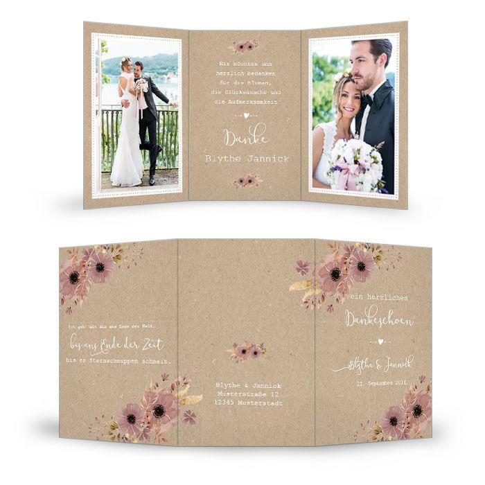 Vintage Hochzeitsdanksagung in Kraftpapieroptik mit Blumen
