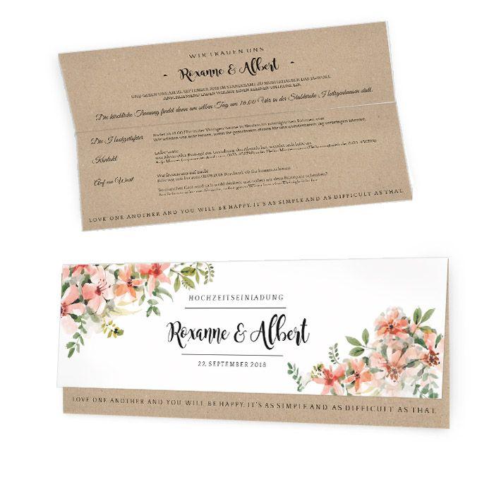 Hochzeitseinladung mit Aquarellblumen und Kraftpapieroptik