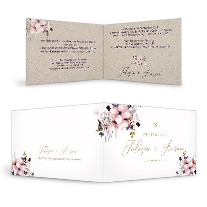 Einladung zur Hochzeit mit Aquarellblumen als Klappkarte