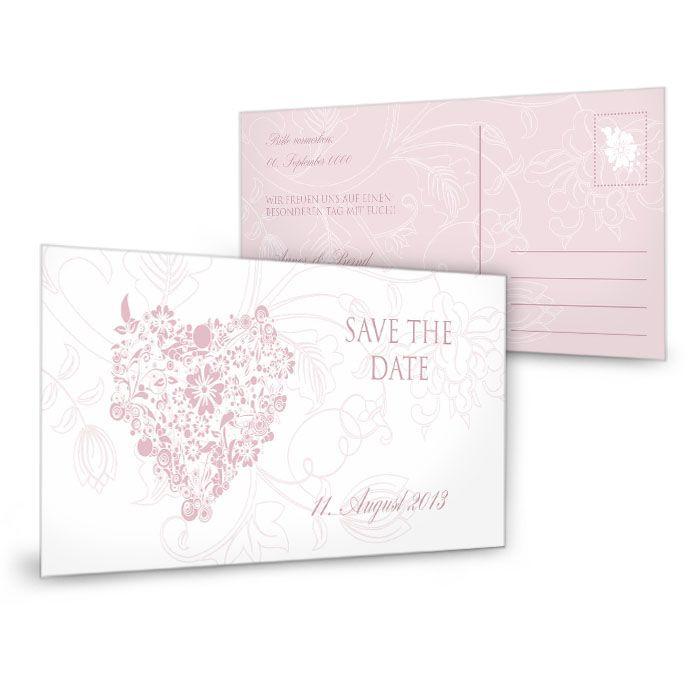 Romantische Save the Date Karte in Rosa mit floralem Herz