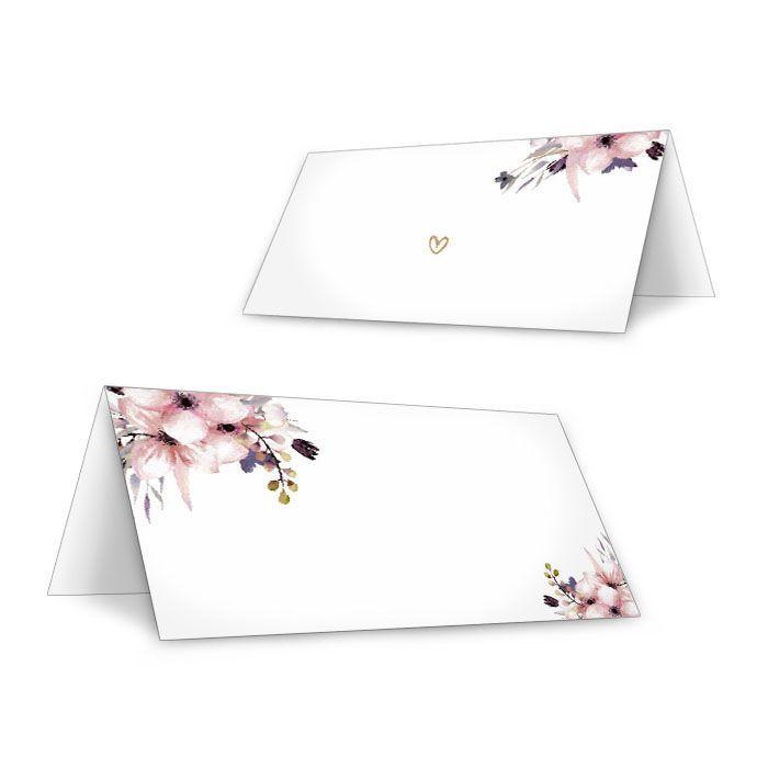 Romantische Tischkarten zur Hochzeit mit Aquarellblüten