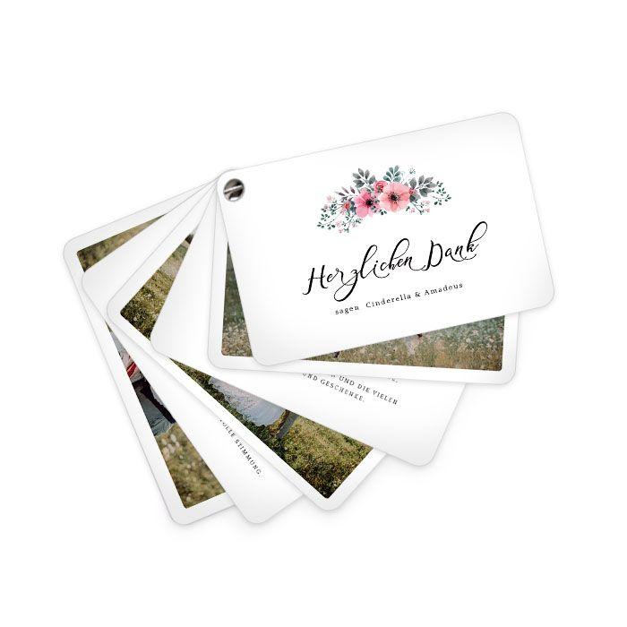 Hochzeitsdanksagung als Kartenfächer mit rosa Aquarellblumen