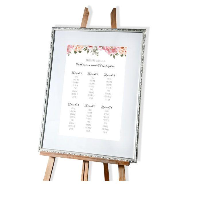 Tischplan zur Vintage Hochzeit mit Aquarellblüten 40 x 60 cm