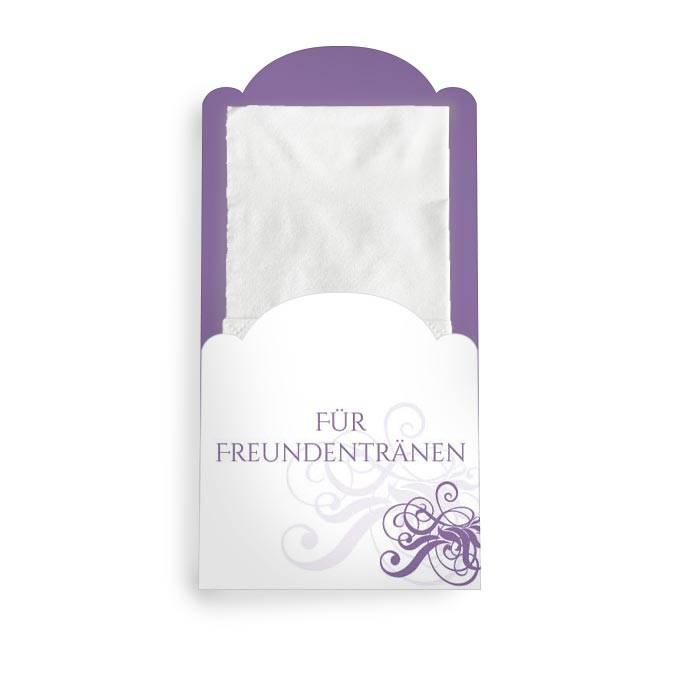 Taschentuchhülle zur Hochzeit in Lila mit Schnörkeln