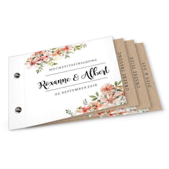 Romantisches Booklet als Hochzeitseinladung mit Aquarellblüten