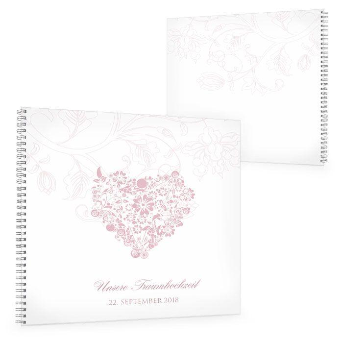 Romantisches Gästebuch zur Hochzeit mit Herz in Rosa
