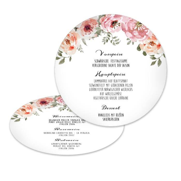 Runde Menükarte mit floralen Watercolormotiv