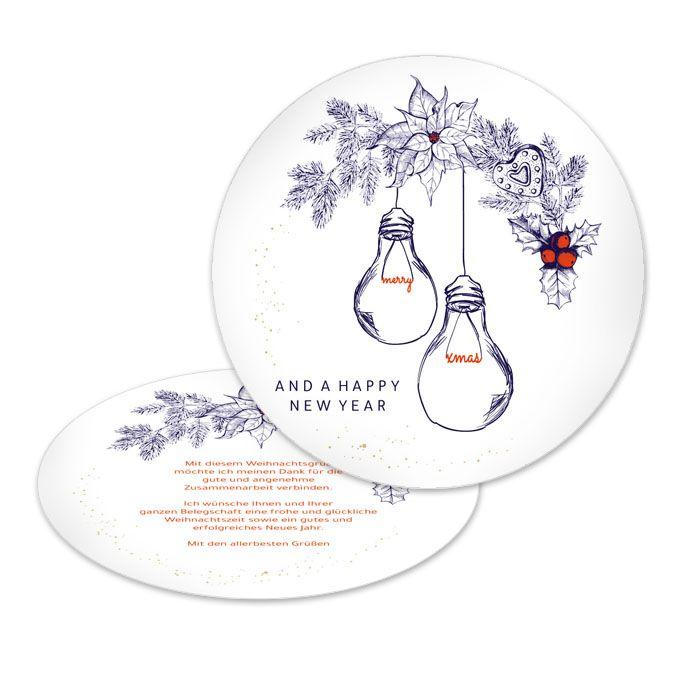 Runde Weihnachtskarte für Elektriker mit Glühbirnen Motiv