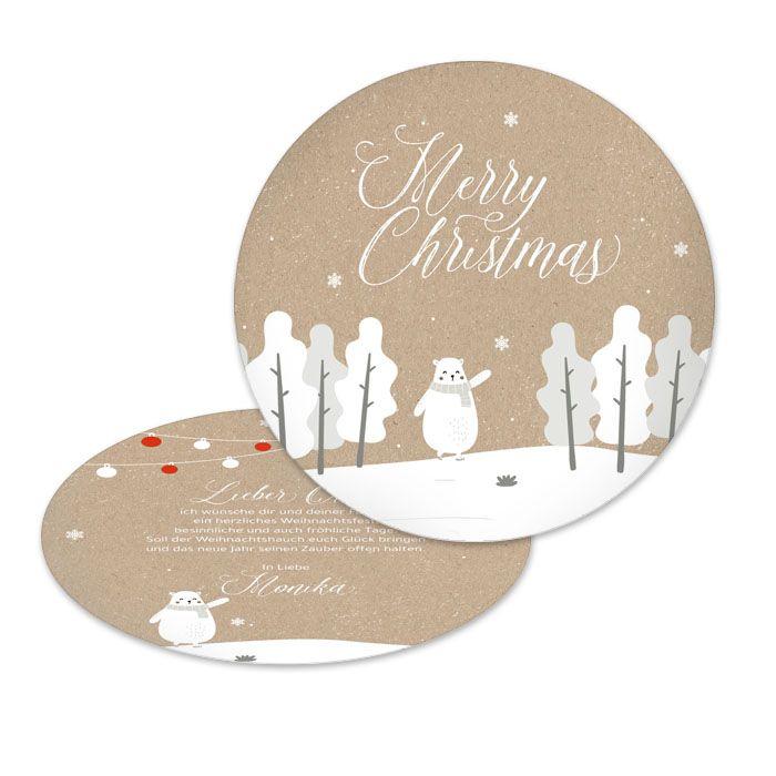 Runde Weihnachtskarte im Kraftpapierlook mit Eisbär Motiv