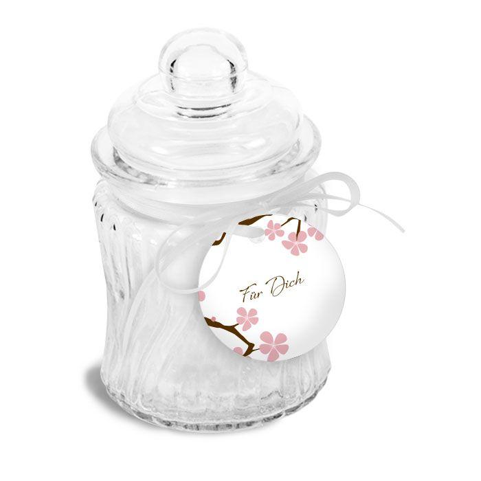 Runde Geschenkanhänger mit Kirschblütenzweig und Eulen