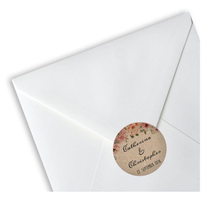 Runder Hochzeitsaufkleber in Kraftpapieroptik mit Blüten