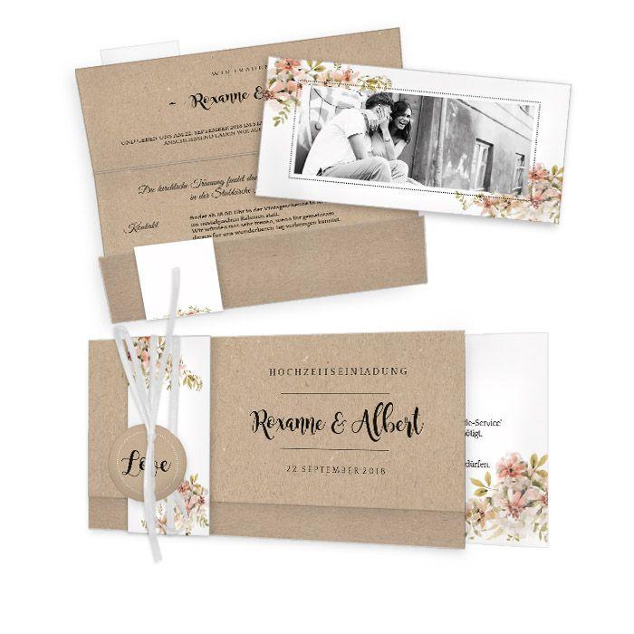 Hochzeitseinladung in Kraftpapieroptik mit Aquarellblumen